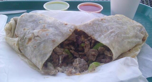 carne asada burrito from El Patron Restaurant in Poway, California. By Dougk49 (Own work) [CC-BY-SA-3.0 (http://creativecommons.org/licenses/by-sa/3.0) or GFDL (http://www.gnu.org/copyleft/fdl.html)], via Wikimedia Commons