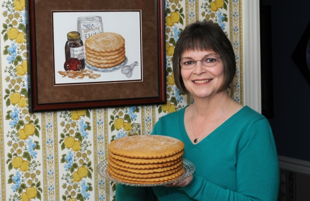Jill Sauceman with her Stack Cake. Photo by Larry Smith.