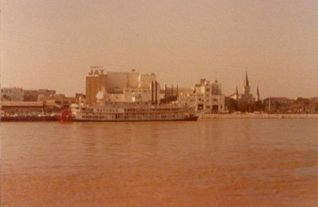 A view across the Mississippi River toward Jax Brewery from Algiers Point, circa 1970s. Photo uploaded by Infrogmation, via Wikimedia Commons.