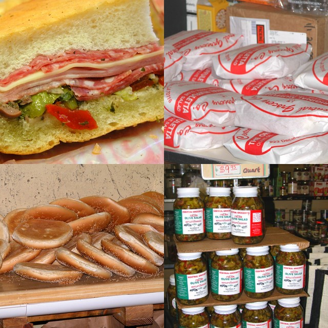 Central Grocery Muffulettas and accompaniments. Photo by Perlow at the English language Wikipedia, from Wikimedia Commons