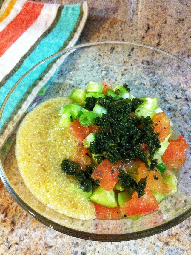 Salad with Hilbeh and Zhug