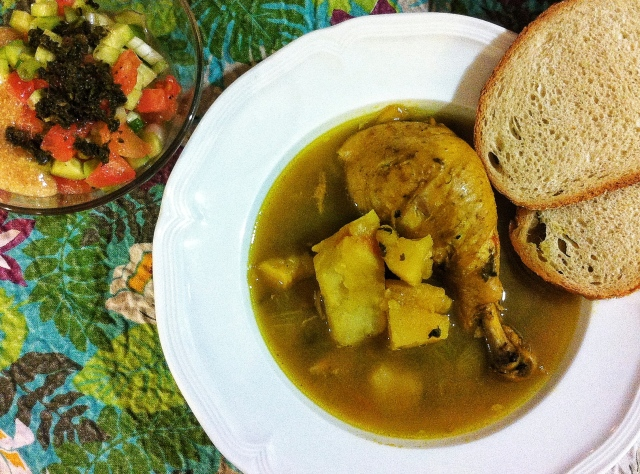 Yemenite Soup with Salad. Photo by Sharon Ona.