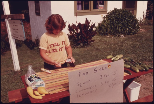 A boy sells lemonade in the 1970s or 80s in Georgia. Photo by NARA via Wikimedia Commons