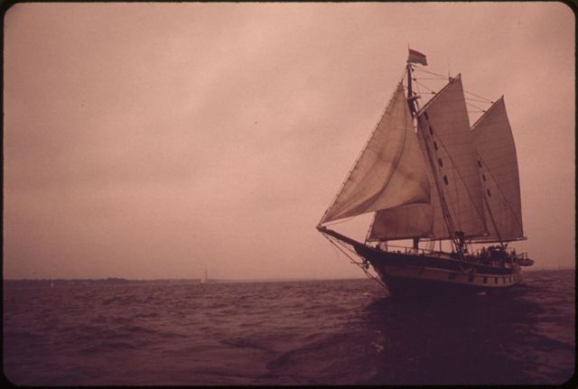 Schooner on Chesapeake Bay in 1973. Photo by  Lien, Mike, Photographer, via NARA and Wikimedia Commons.