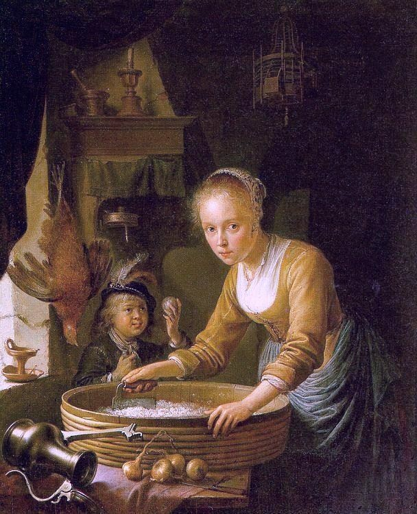 Gerrit Dou's painting, Girl Chopping Onions, created about 1646, now in the Royal Collection, London