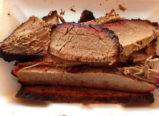 The brisket at Hemphill BBQ features a beautiful smoke ring.