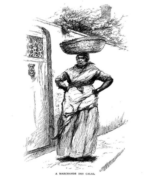 "A Marchande des Calas. Calas vendor, New Orleans, 1886 Source: Illustration in ""Century Magazine"", 1886, via Wikimedia Commons"