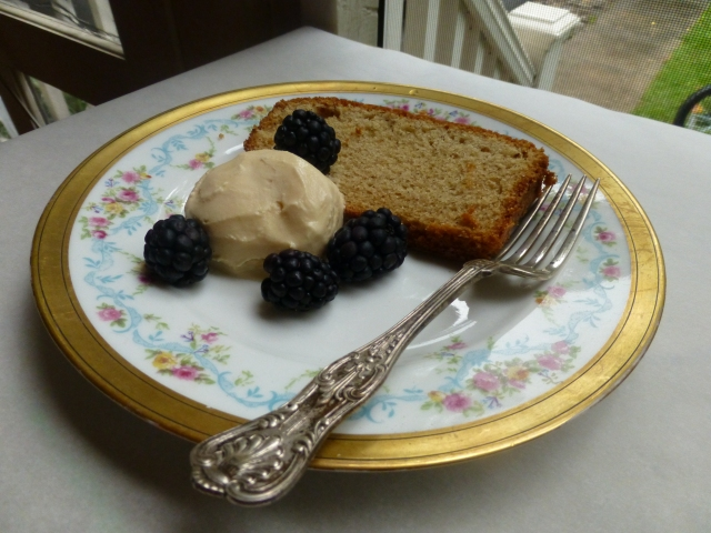 Cardamom Sour Cream Pound Cake with Burnt Sugar Ice Cream and Blackberries
