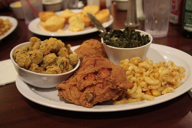 Soul Food - including collards and macaroni and cheese. Photo by Infrogmation.