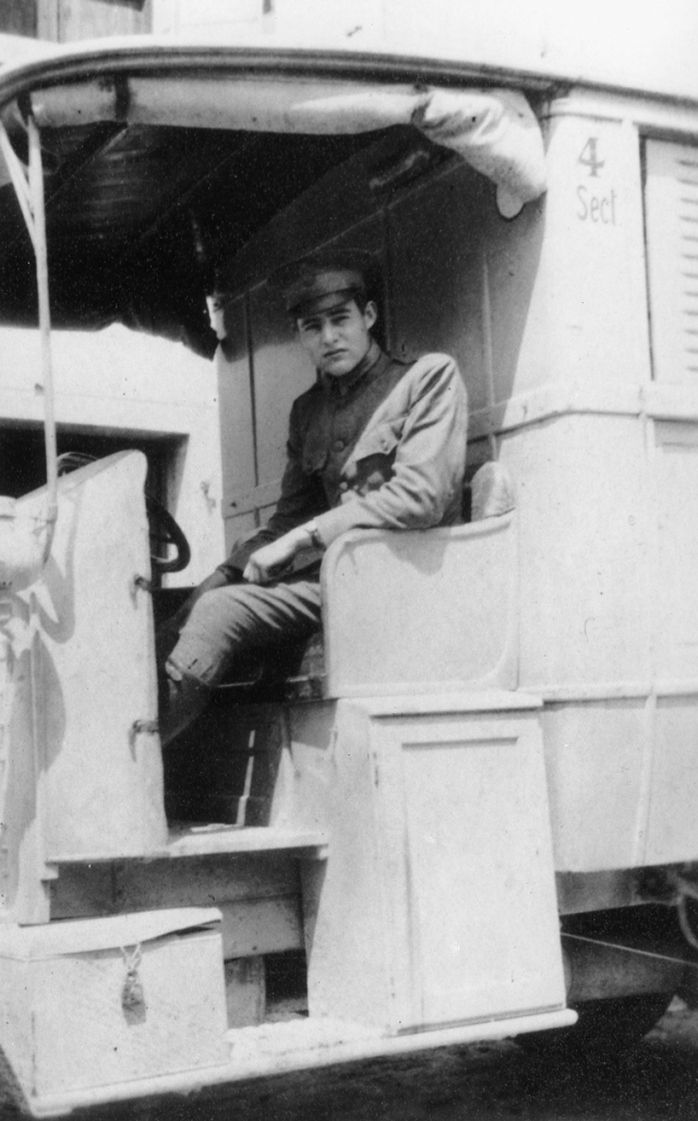 Hemingway in an American Red Cross Ambulance in Italy, 1918, via Wikimedia Commons