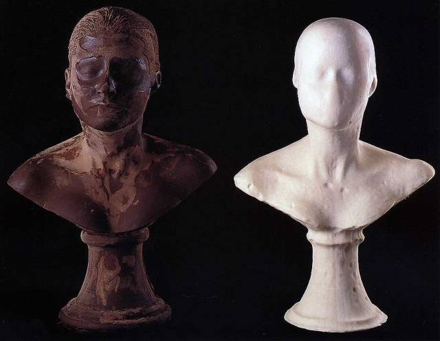 """Janine Antoni, """"Lick and Lather,"""" detail, 1993. 7 soap and 7 chocolate self-portrait busts, 24 x 16 x 13 inches each. Collection of Jeffrey Deitch, New York. Photo by John Bessler."""