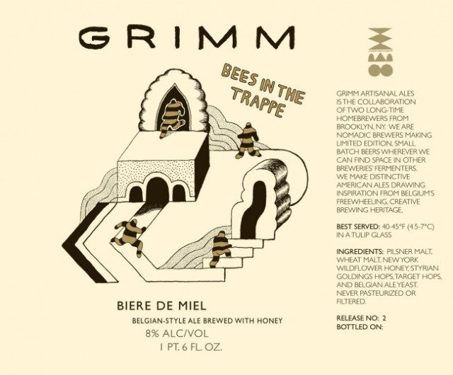 A label from Grimm Ales. Label artwork by Gretta Johnson