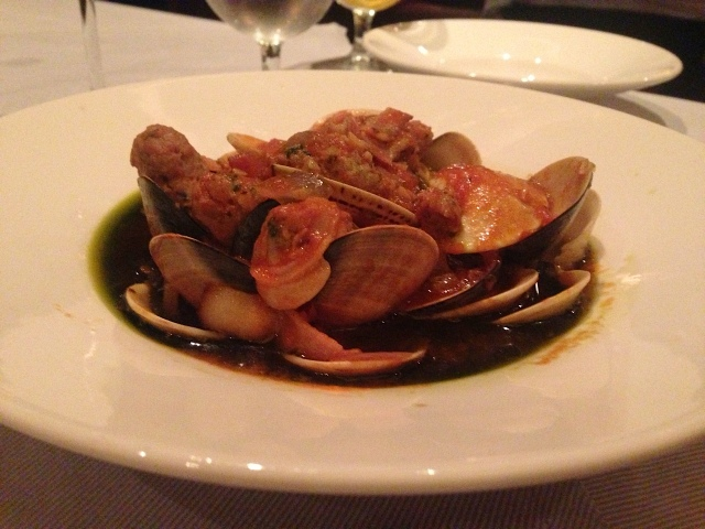 Vongole at the Crown Grill featured jumbo clams, housemade smoked sausage, roasted tomatoes, and oregano.