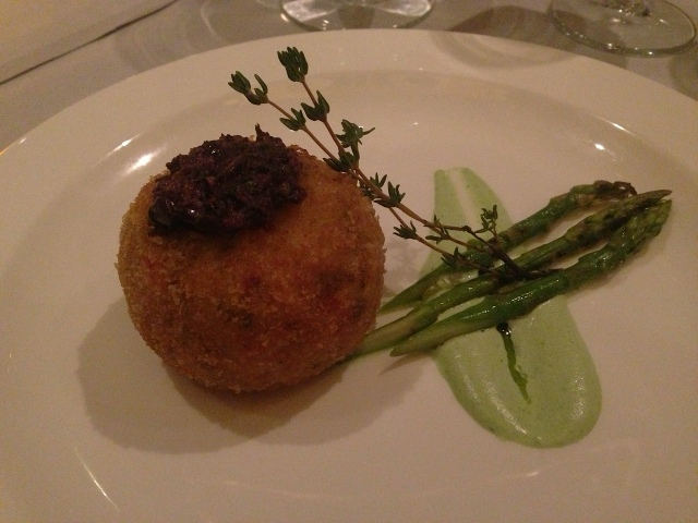 The Mediterrenean style Spiny Lobster Cake at the Crwon Grill featured grilled asparagus and tarragon foam.