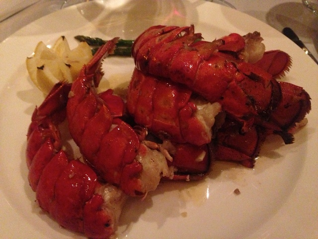 """The """"4 oz Maine Lobster Tails"""" item on the Crown Grill menu featured seven 4 ounce lobster tails."""