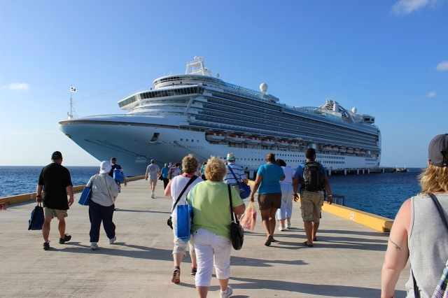 Cruise ship passengers board the Crown Princess in Cozumel, Mexico, one of the three stops it made during seven days in the Western Carribean.