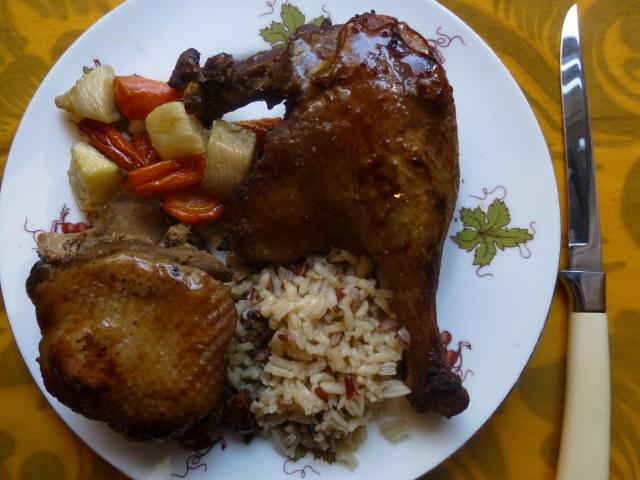 Delicious duck in a brown sugar, soy, cider vinegar sauce.
