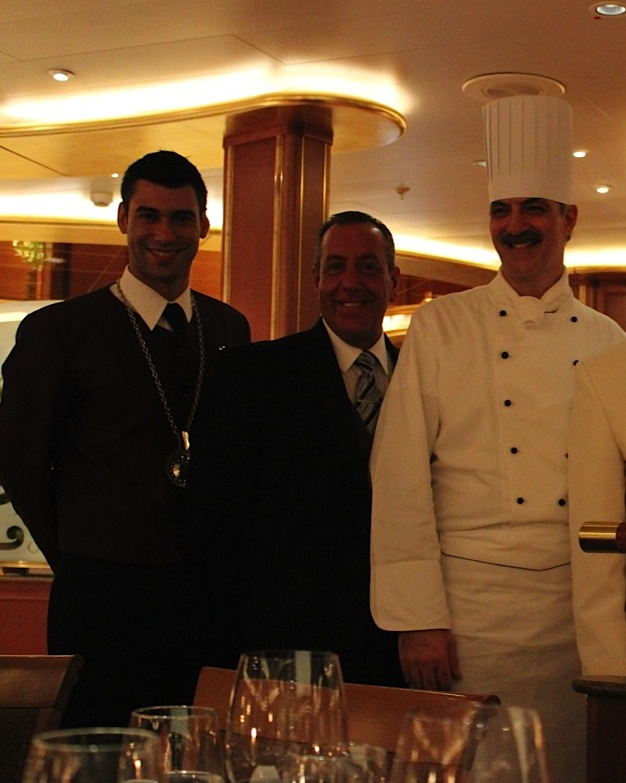 (l to r) The sommelier on Princess, Maitre D Georgio Pisano, and Executive Chef Giuseppe De Gennaro
