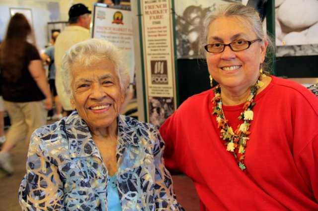 Leah Chase (l) and Liz Williams (r) at French Market Fare.