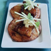 Apple Cider and Beer-Braised Pork Belly Over  Scallion Pancake